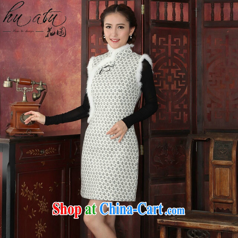 Take the cheongsam dress Tang with autumn and winter, Chinese collar rabbit hair fashion cheongsam banquet improved lace thick cheongsam dress white 2XL