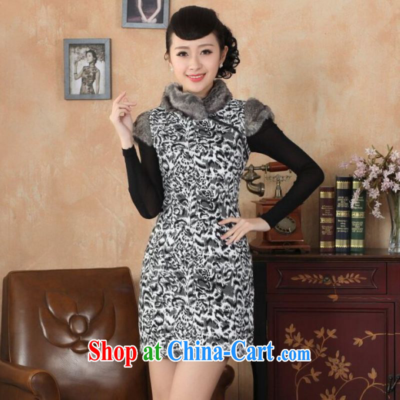 And Jing Ge Chinese improved cheongsam dress short skirt winter clothing New-hair beauty? cheongsam picture color 40_XXL