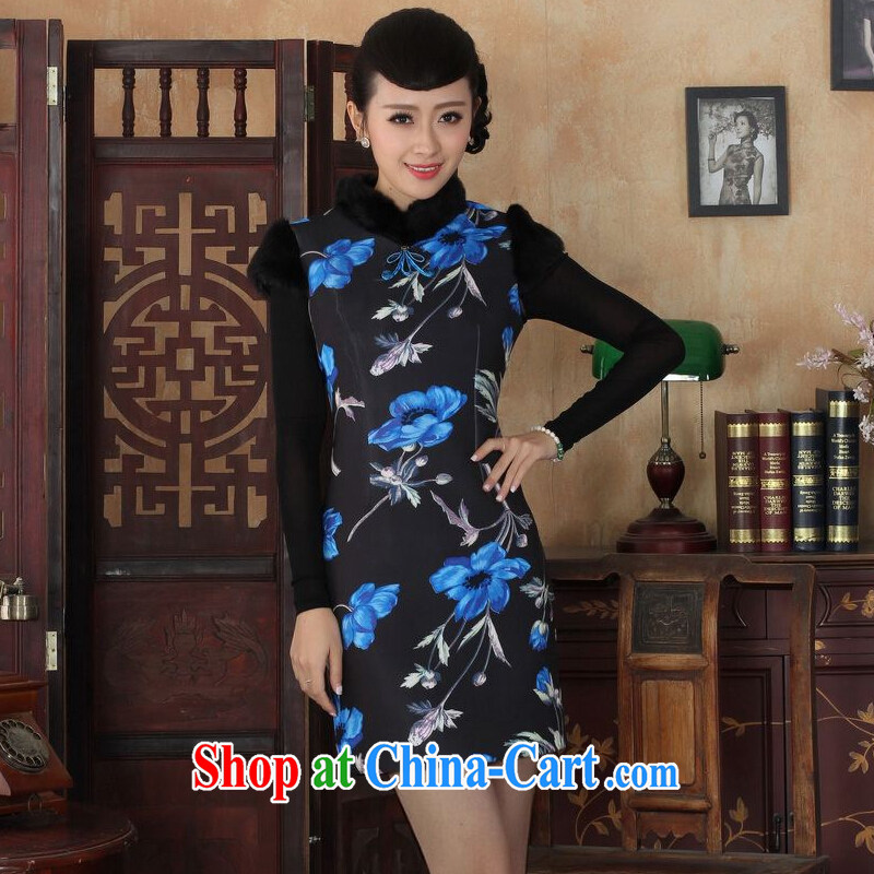 And Jing Ge Chinese improved cheongsam dress short skirt winter clothing New-wool dresses beauty Y 0029 photo color 40_XXL