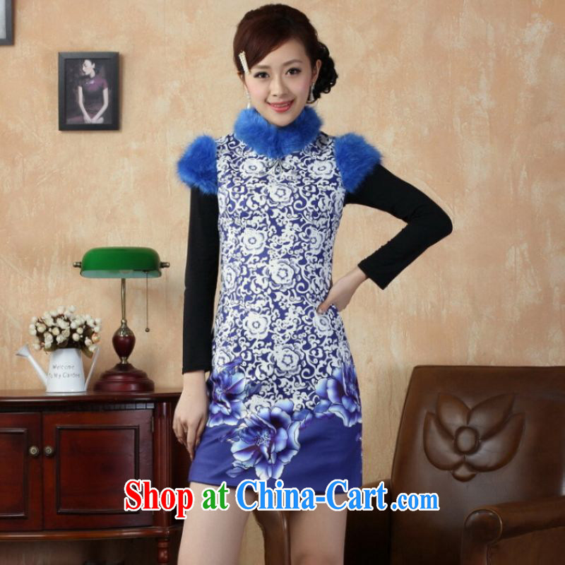 And Jing Ge Chinese improved cheongsam dress short skirt winter clothing New-cotton cultivating cheongsam Y 0018 blue 40_XXL