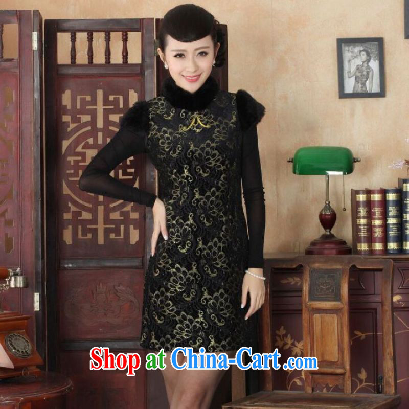He Jing Ge Chinese improved cheongsam dress short skirt winter clothing New-stretch lace gold velour cheongsam beauty skirt Y 0025 black 40_XXL
