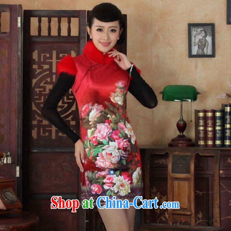 And Jing Ge Chinese improved cheongsam dress short skirt winter clothing New-wool and cotton cultivation cheongsam red 40/XXL