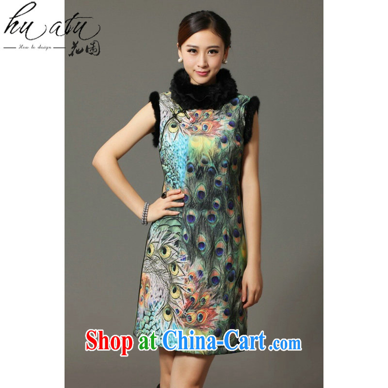 spend the winter and autumn cotton cheongsam dress Chinese Chinese, for rabbit hair for Peacock on display improved cotton cheongsam dress attire such as the color 2 XL