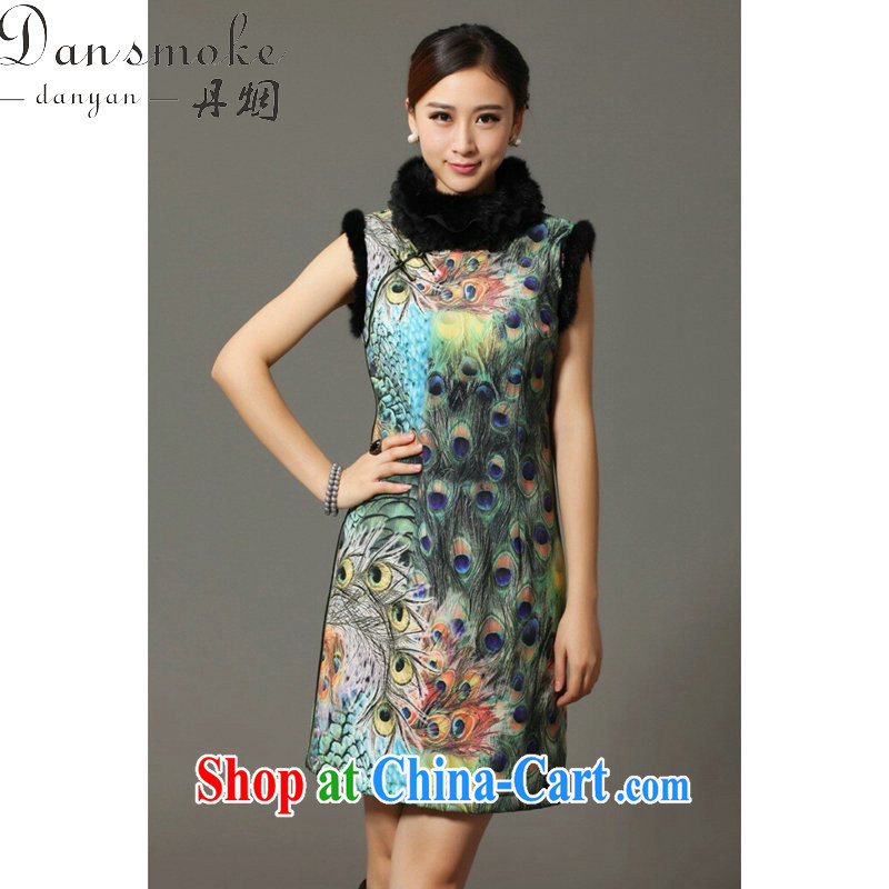 Bin Laden smoke-free winter and autumn cotton cheongsam dress Chinese Chinese, for rabbit hair for Peacock on display improved cotton cheongsam dress attire such as the color 2 XL