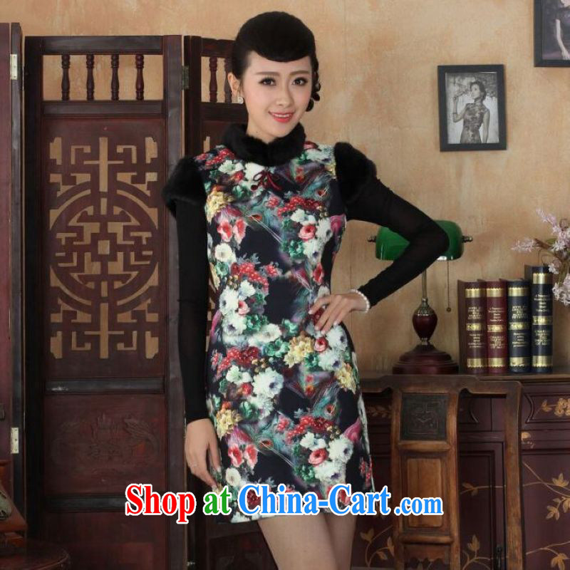 And Jing Ge Chinese improved cheongsam dress short skirt winter clothing New-wool dresses beauty picture color 40/XXL