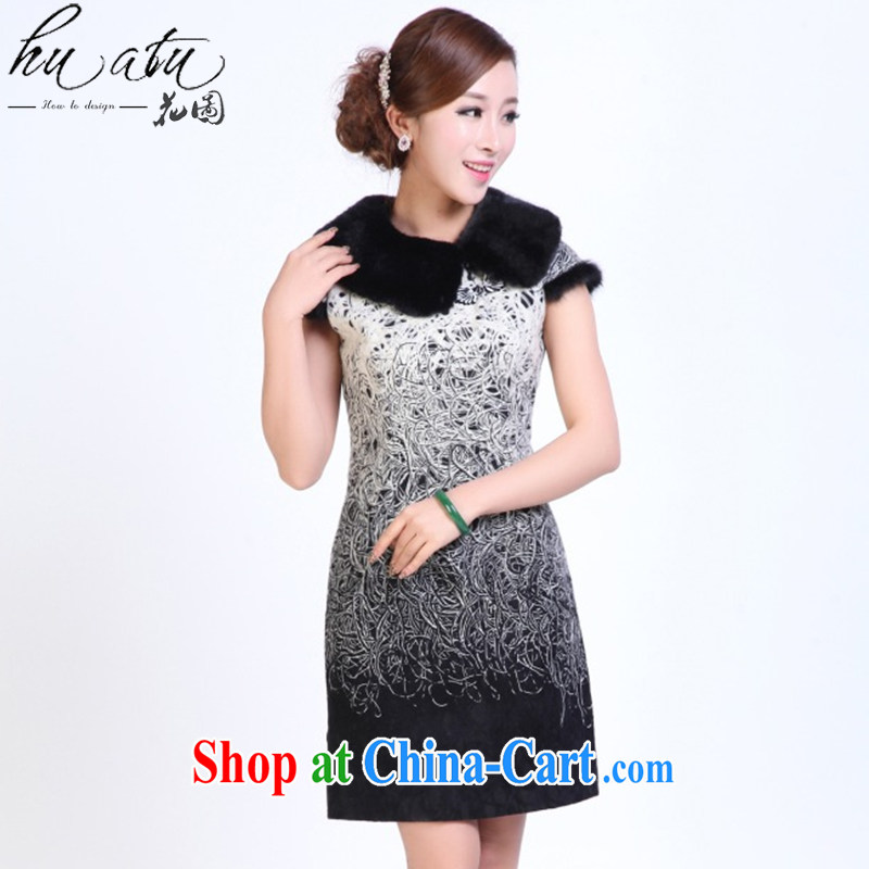 Take the cheongsam dress Tang with autumn and winter fashion so gross for improved cheongsam dress Manually Take Charge cheongsam dress bows white 2XL
