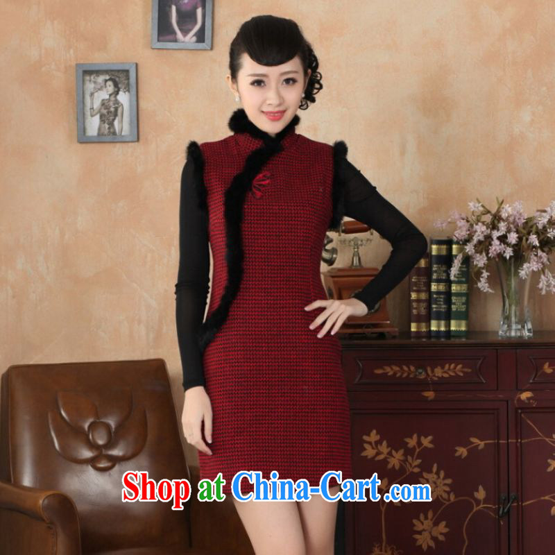 And Jing Ge Chinese improved cheongsam dress short skirt winter clothing new, Retro improved tartan wool that rabbit hair collar cheongsam Y 0031 red 40_XXL
