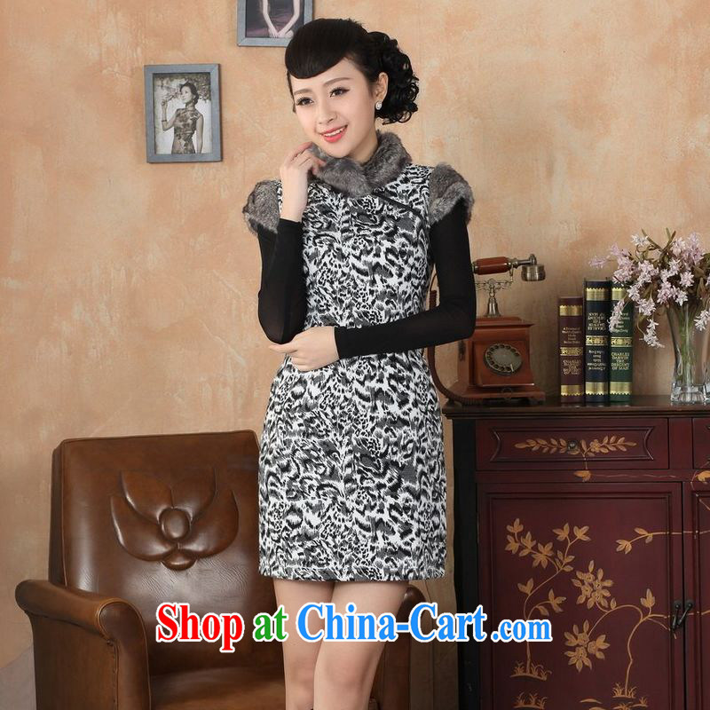 Jing An outfit, Ms. Tang with improved winter dresses, for the waist dress dresses gray 2 XL