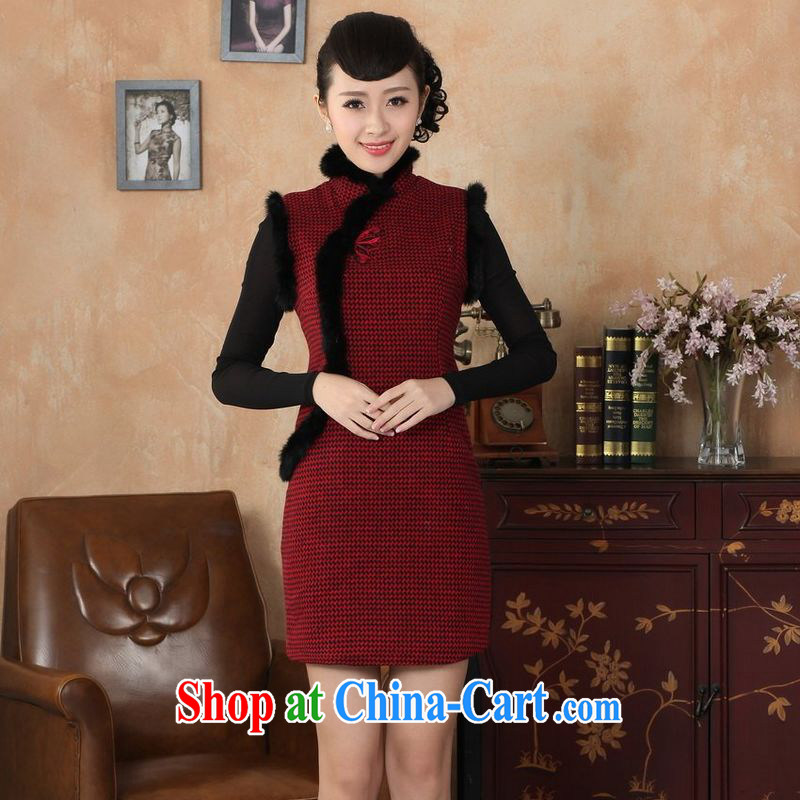 Jing An outfit, Ms. Tang with autumn and winter with new retro improved grid wool? rabbit hair collar cheongsam red 2 XL