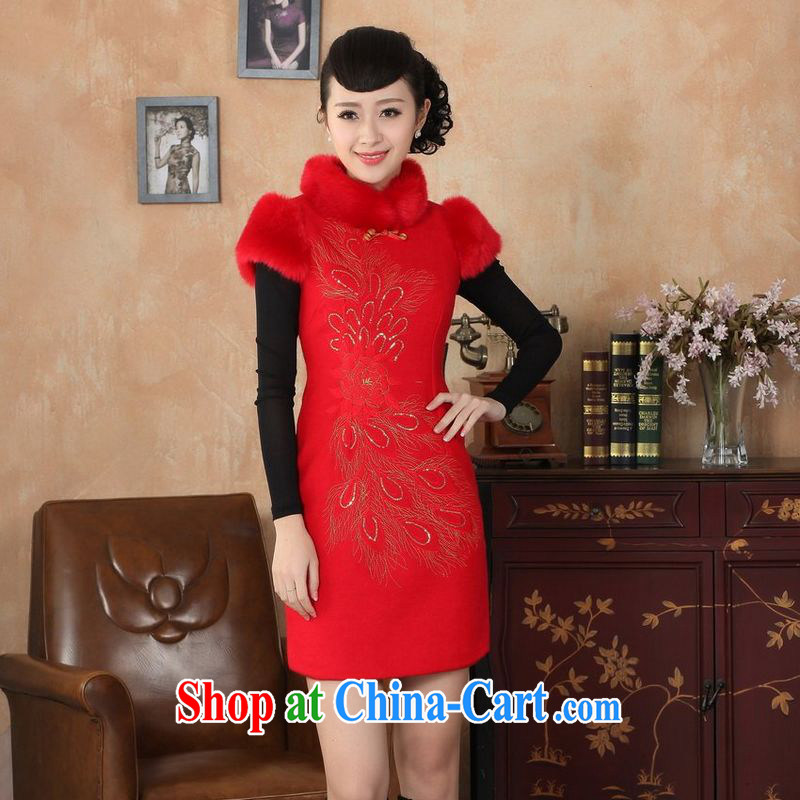 Jing An outfit, Ms. Tang with autumn and winter with new retro improved wool? rabbit hair collar embroidery cheongsam red 2 XL