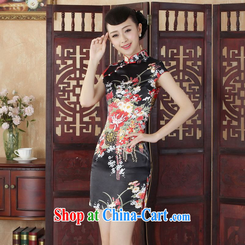 Jing An outfit, Ms. Tang is improved summer dresses, for peony flowers dress dresses - A black L