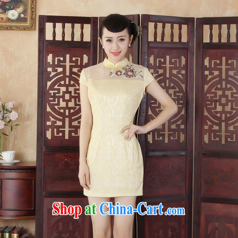 An Jing Lady Jane, stylish and refined beauty lace short cheongsam dress new Chinese qipao gown yellow 2XL