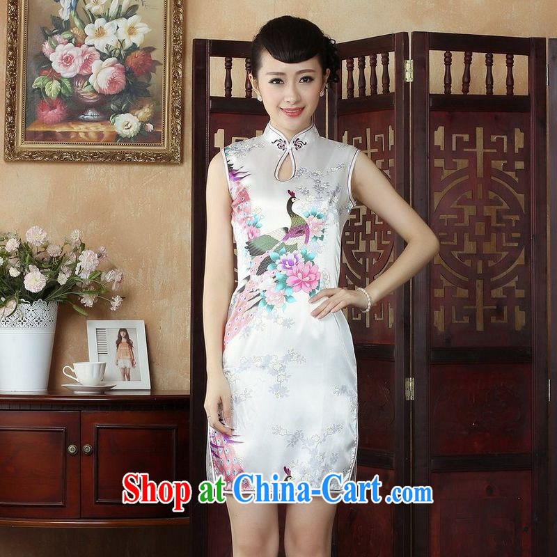 Jing An outfit, Ms. Tang is improved summer dresses, for the hard-pressed Peacock short cheongsam dress dresses J 5143 white 2XL