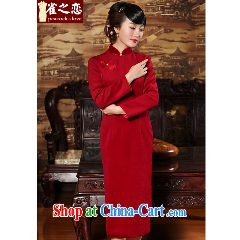 Bird lovers of wind, 2015 spring new beauty long hair so long-sleeved dresses skirt red XXL