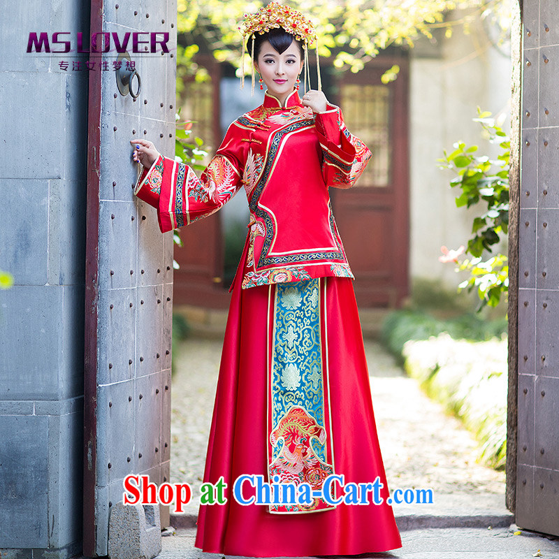 MSLover gradually Bong-New Chinese classical bridal hi serving long-sleeved retro, who married Yi bows serving Sau wo service XH 141,201 red XL