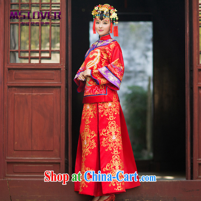 MSLover Phoenix in the new Chinese brides hi serving long-sleeved retro married clothing qipao Sau Wo service XH 141,203 red XL