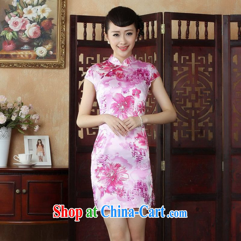 Jing An outfit, Ms. Tang is improved summer dresses, for cultivating dress dress pink 2 XL