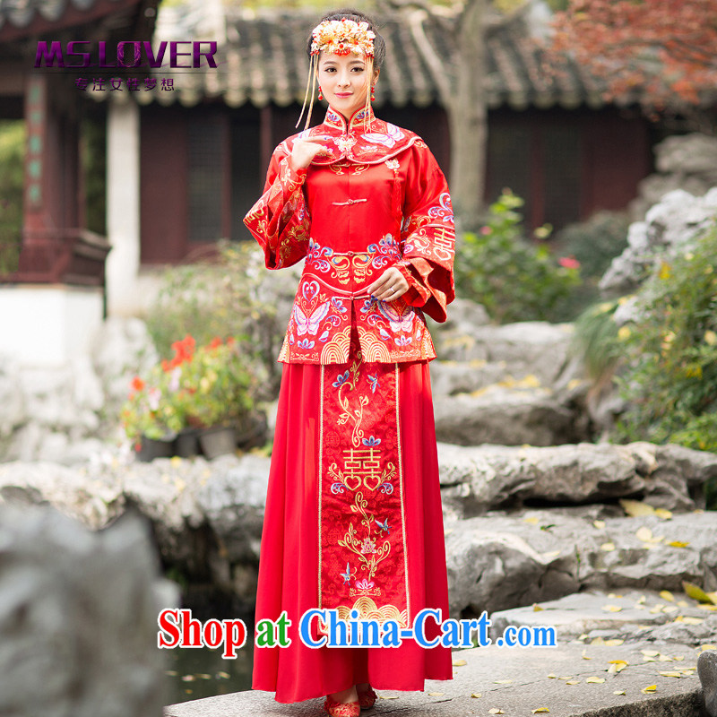 MSLover Butterfly Lovers take Chinese brides long-sleeved retro, who married clothing dress dresses show reel XH serving 141,207 red XL