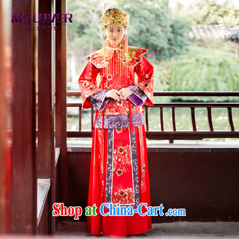 MSLover full chamber, new Chinese brides long-sleeved retro, who married clothing dress dresses show reel XH serving 141,208 red L