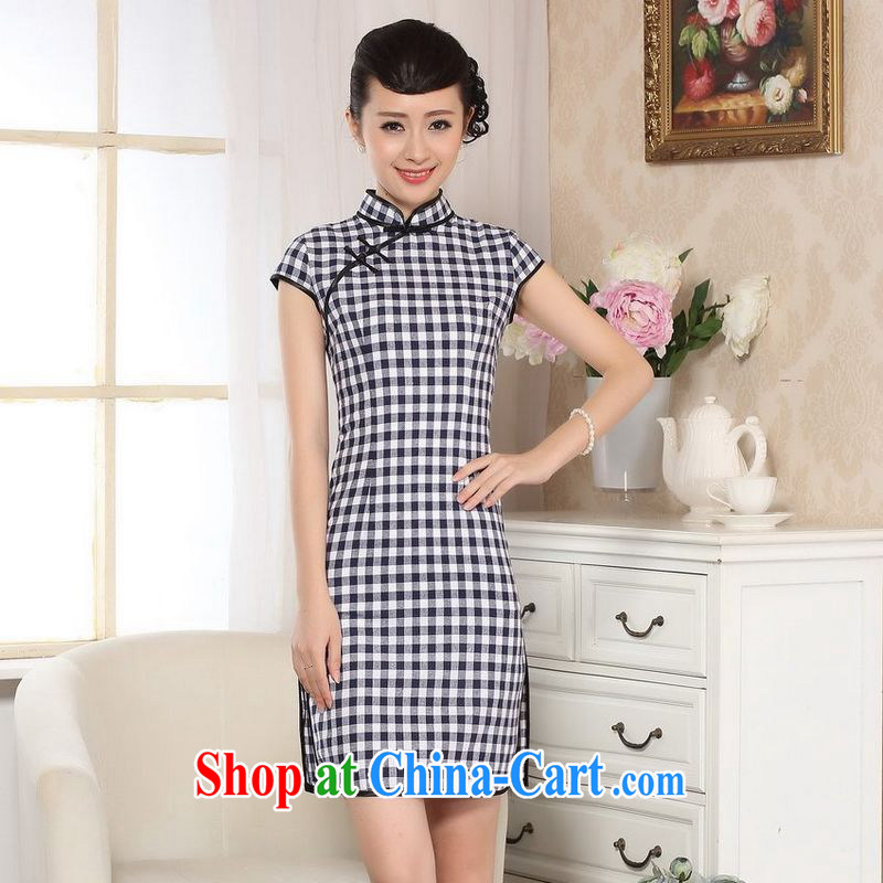 An Jing cotton Ma retro checked short-sleeved qipao improved daily republic linen clothes summer dresses skirts D 0247 - B Blue on white grid L