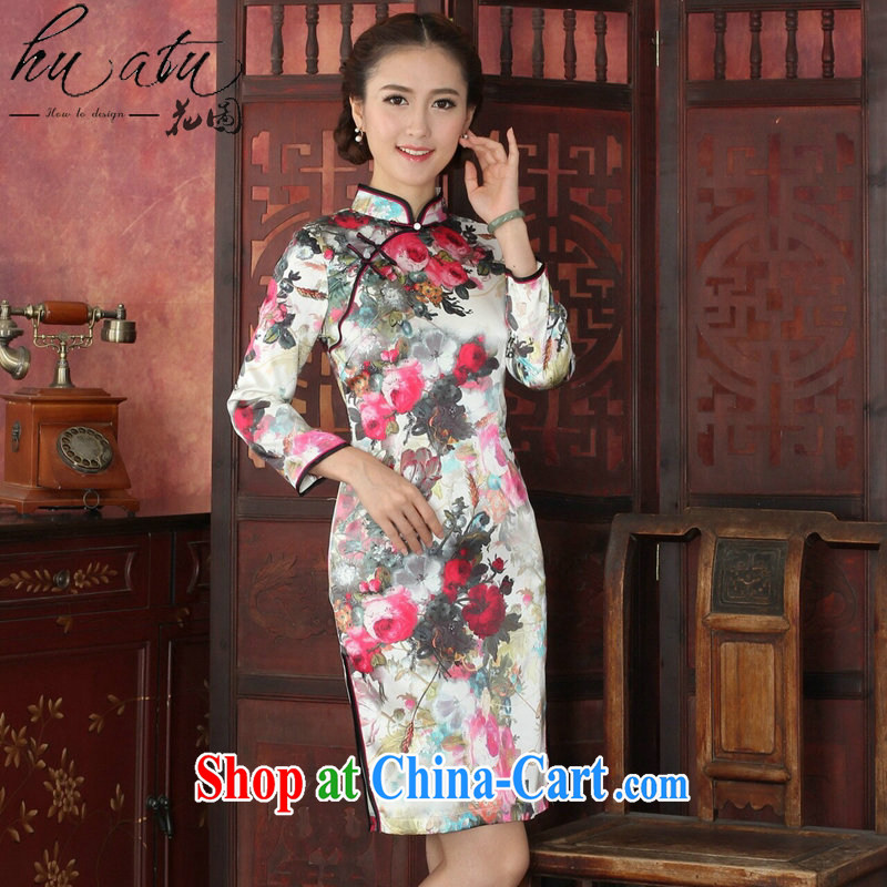 Take the cheongsam dress Chinese autumn and winter sauna long-sleeved Silk Cheongsam Chinese improved the collar retro Silk Cheongsam 1025 _2 XL