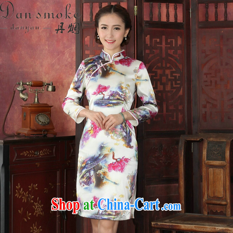 Take the cheongsam dress Chinese autumn and winter sauna long-sleeved Silk Cheongsam Chinese improved the collar retro Silk Cheongsam1026 #2 XL