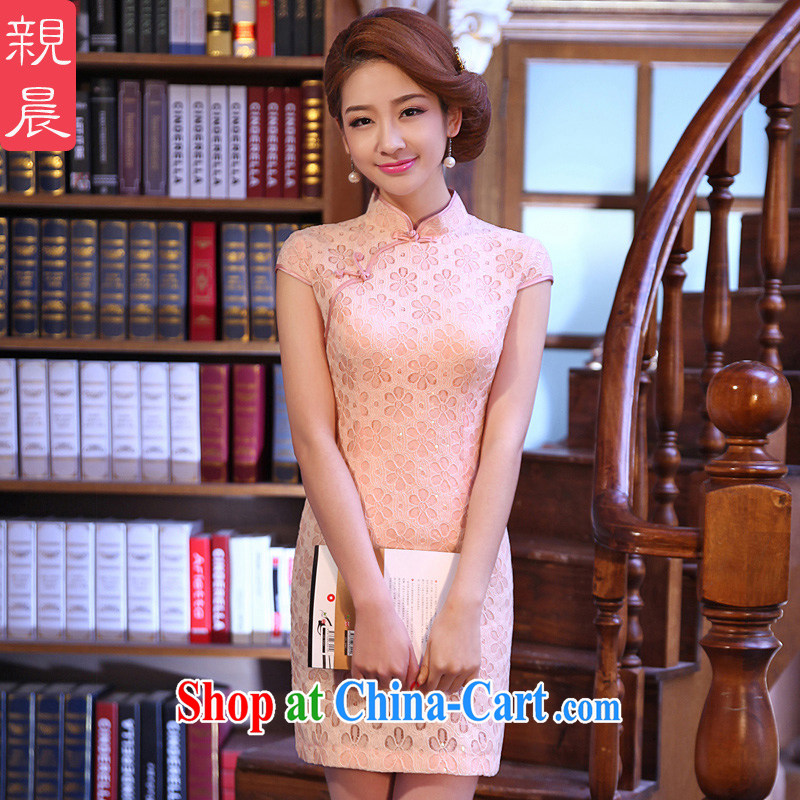 pro-am 2015 New Spring Summer bridesmaid improved Stylish retro everyday lace short cheongsam style dress pink M - waist 71 CM