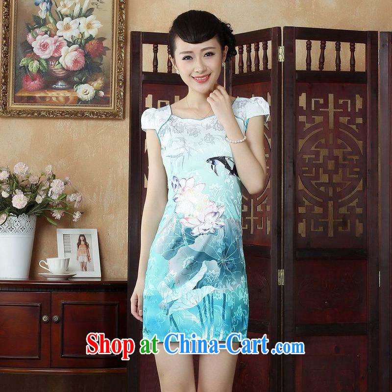 An Jing Lady Jane, Jacob embroidery cheongsam improved cheongsam dress summer exclusive fashion beauty dresses D 0239 2XL