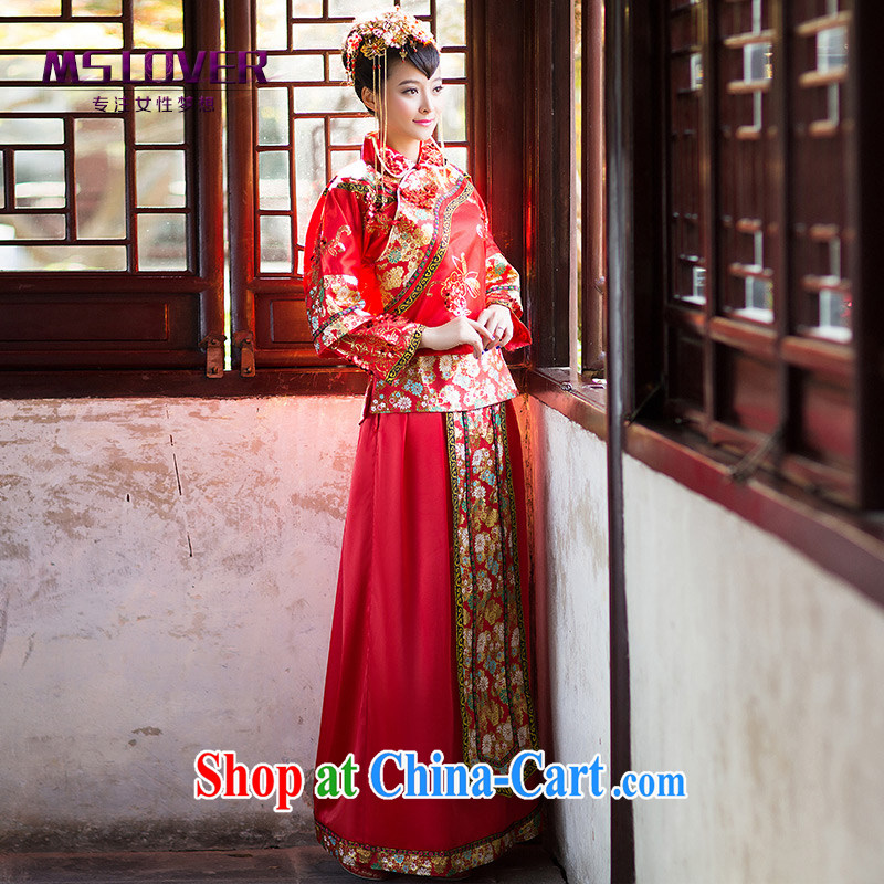 MSLover Fei Hong Kong Chinese brides marry antique toast clothing qipao gown, Sau Wo service XH 141,205 red L