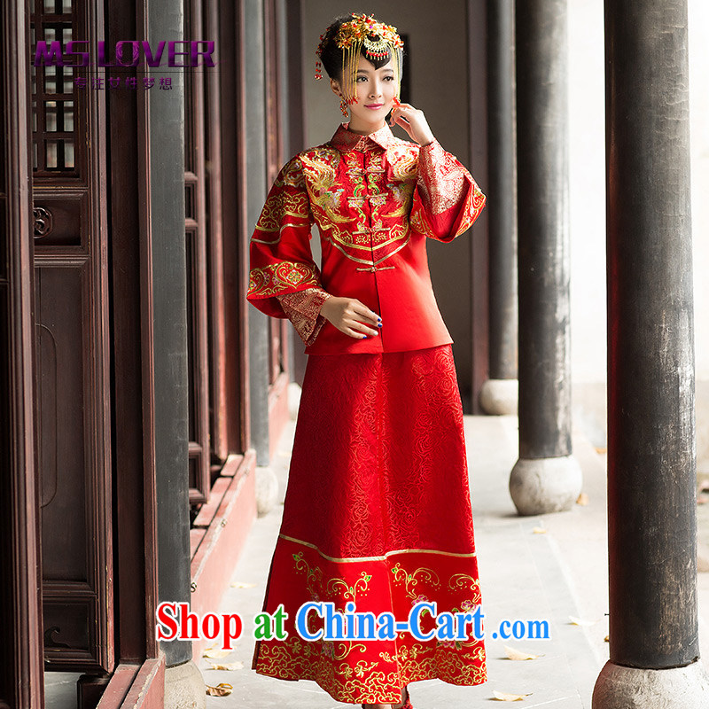 MSLover Bong-The cloud new Chinese brides retro married Yi bows dress cheongsam embroidery show reel XH serving 141,206 red XL