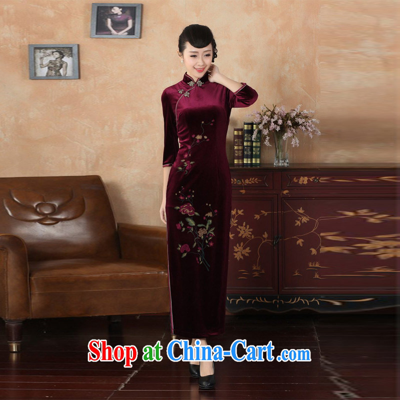 Miss Au King contributed new-stretch the wool long cheongsam 7 cuff autumn and winter dresses, dresses wine red L