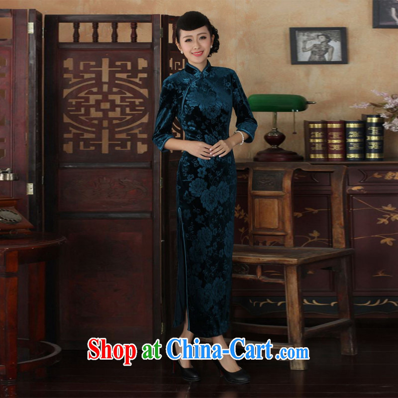 Miss Au King contributed new-stretch the wool long cheongsam 7 cuff autumn and winter dresses, dress blue 2 XL