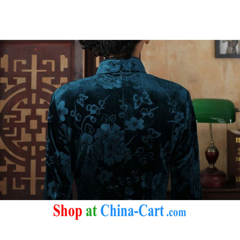 Miss Au King contributed new-stretch the wool long cheongsam 7 cuffs fall and winter dresses, dress blue 2 XL, facilitating Jing, and shopping on the Internet