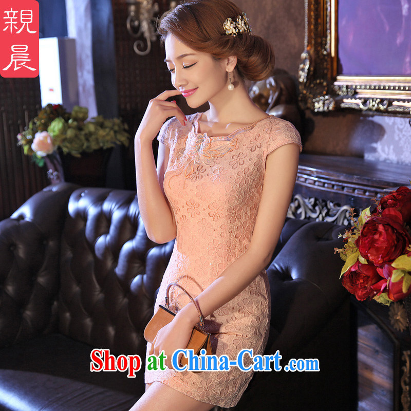 The pro-am 2015 as soon as possible new summer short daily improved stylish lace short sleeve retro Ethnic Wind cheongsam pink M - waist 71 CM