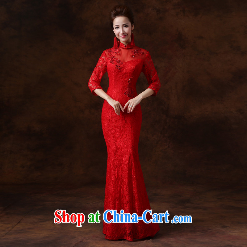 Jie MIA toast Service Bridal Fashion dresses 2015 New Red lace long sleeves in marriages served toast XS