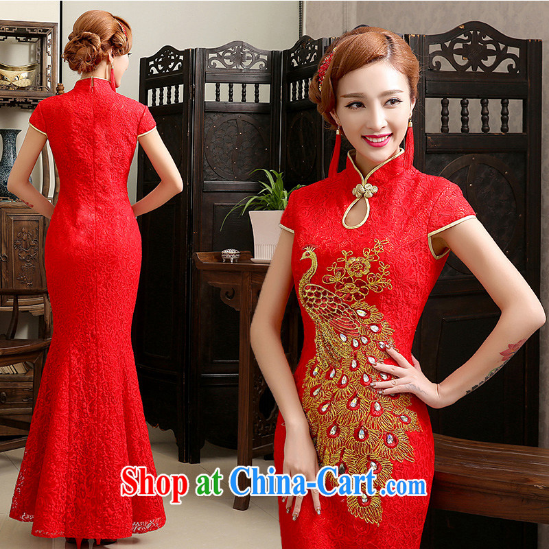 Code Hang Seng bridal long antique dresses 2014 new chinese red flag wedding dress wedding toast at Merlion service improved Red. size does not return does not switch
