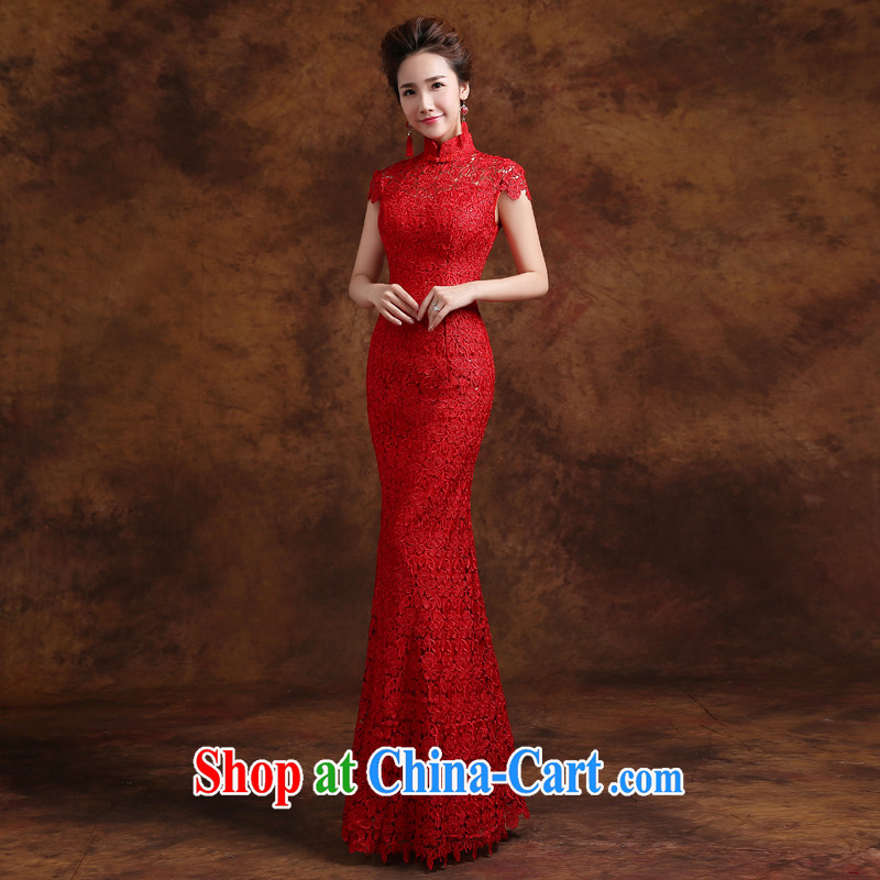 Jie MIA toast Service Bridal Fashion 2015 New Red lace retro improved marriage dresses long evening dress autumn and winter XXXL
