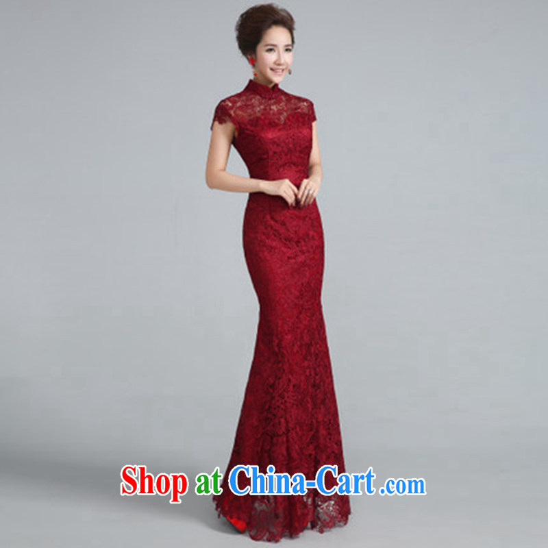 Jie MIA dresses new 2015 style improved wine red lace bridal wedding toast served at Merlion dress autumn and winter female wine red XXL