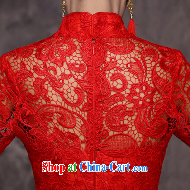 Jie MIA dresses new 2015 style improved wine red lace bridal wedding toast served at Merlion dress autumn and winter female wine red XXL, Jake Mia, and shopping on the Internet