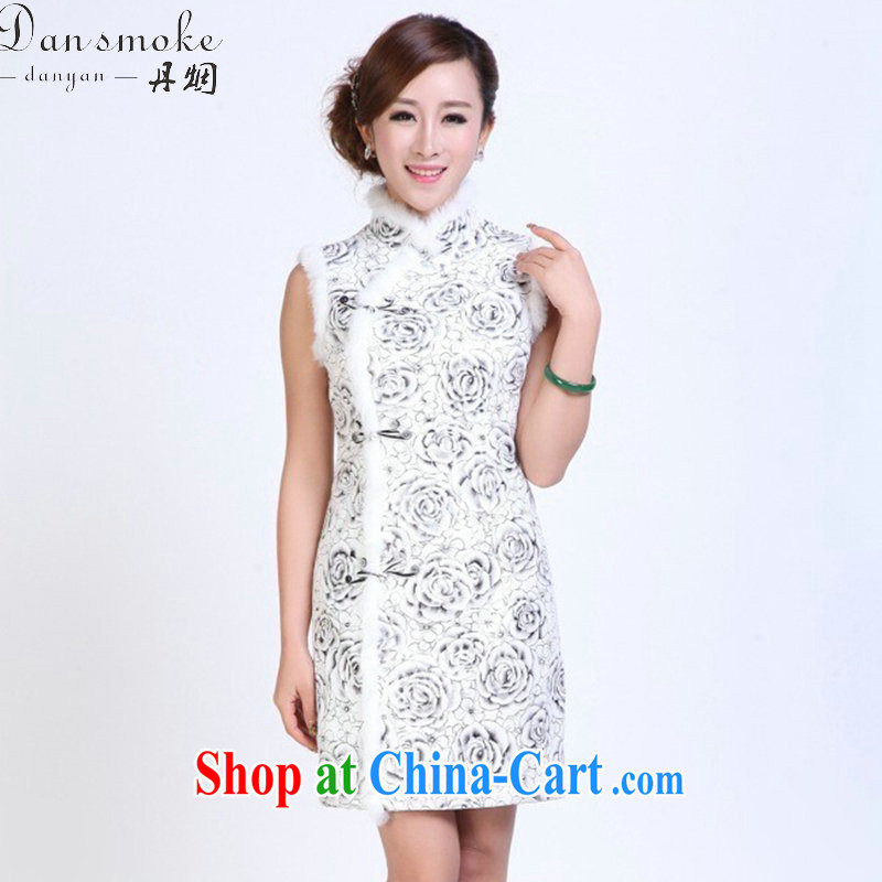 Dan smoke-free fall and winter cheongsam dress Chinese, Chinese leaders, lint-free cloth rabbit hair improved cheongsam thin elegant annual dress cheongsam picture color 2 XL