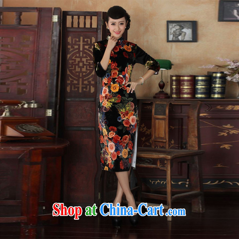 Miss Au King contributed new-stretch the wool peony flower long dresses fall and winter dresses, dresses picture color 2 XL
