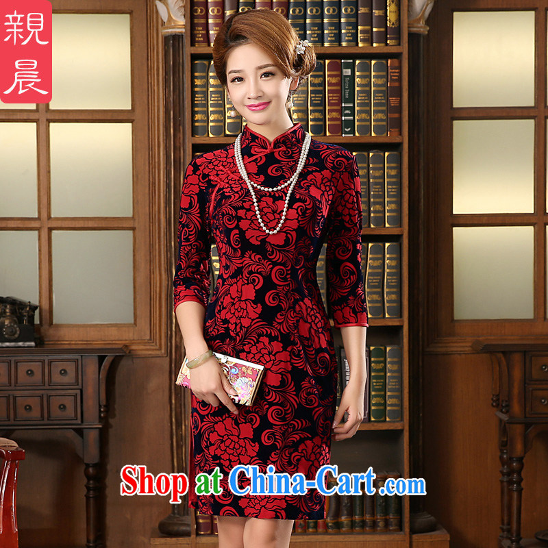 The pro-am cutouts as soon as possible take 2015 wedding autumn wedding with wedding wool MOM load the older cheongsam dress 7 cuff 2 XL - waist 80 CM