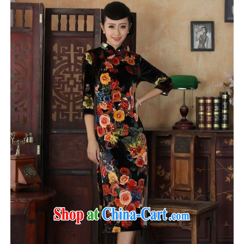 He Jing Ge New-stretch-velvet peony flower long cheongsam dress autumn and winter dresses, dresses picture color 2 XL