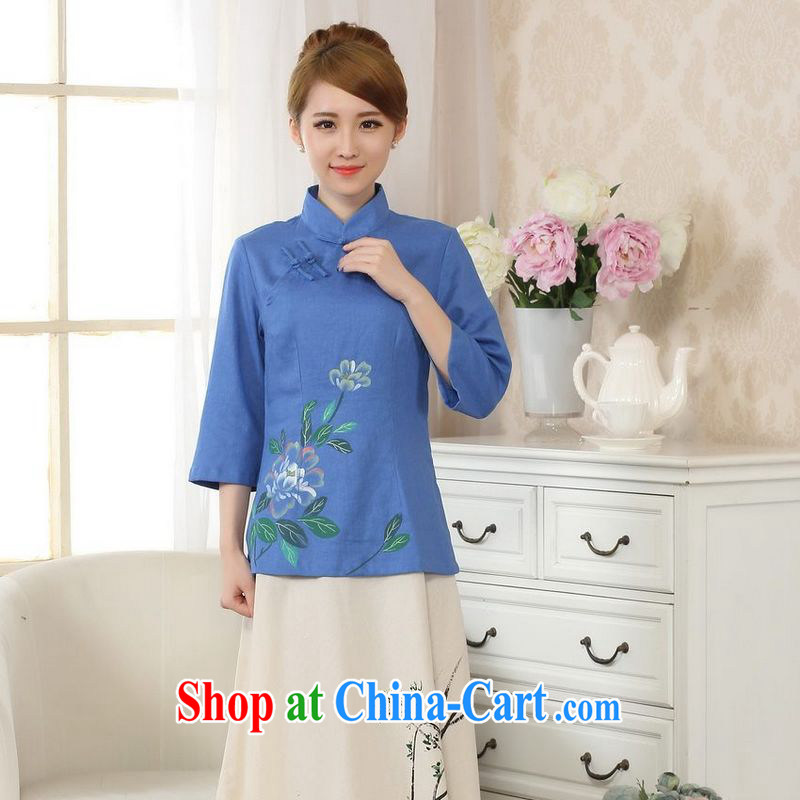 Allow Ms. Jing Tang Women's clothes summer T-shirt, cotton for the hand-painted Chinese Han-female improved Tang in blue cuff L