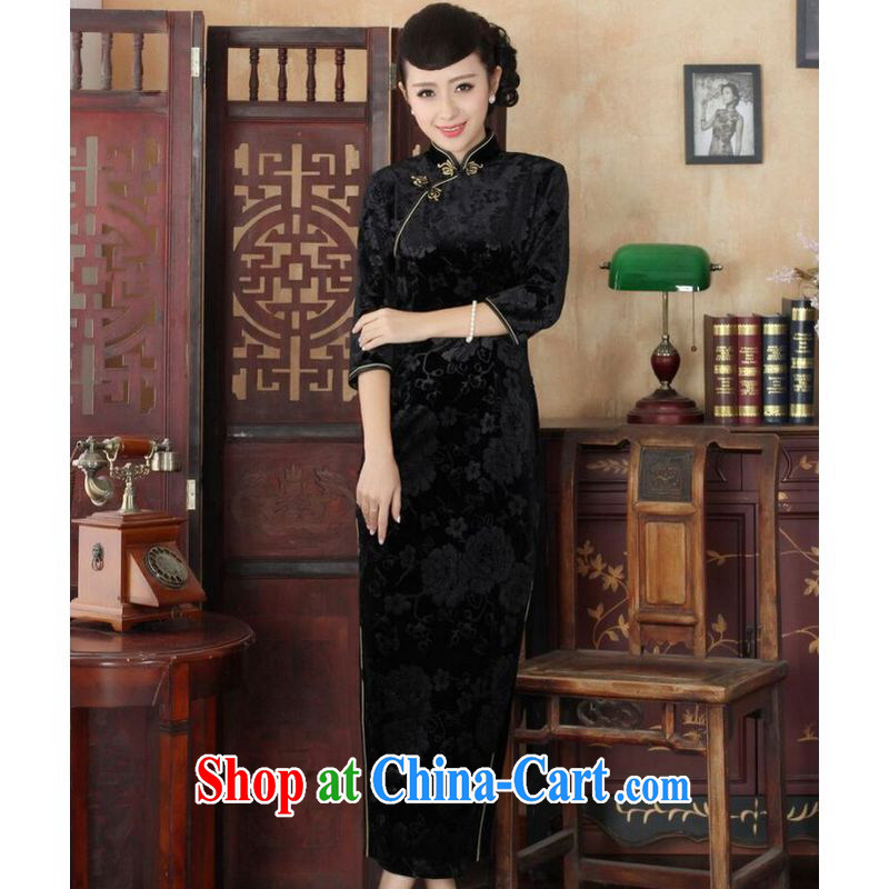 He Jing Ge New-stretch the wool long cheongsam 7 sub-cuff fall and winter dresses, dresses black M
