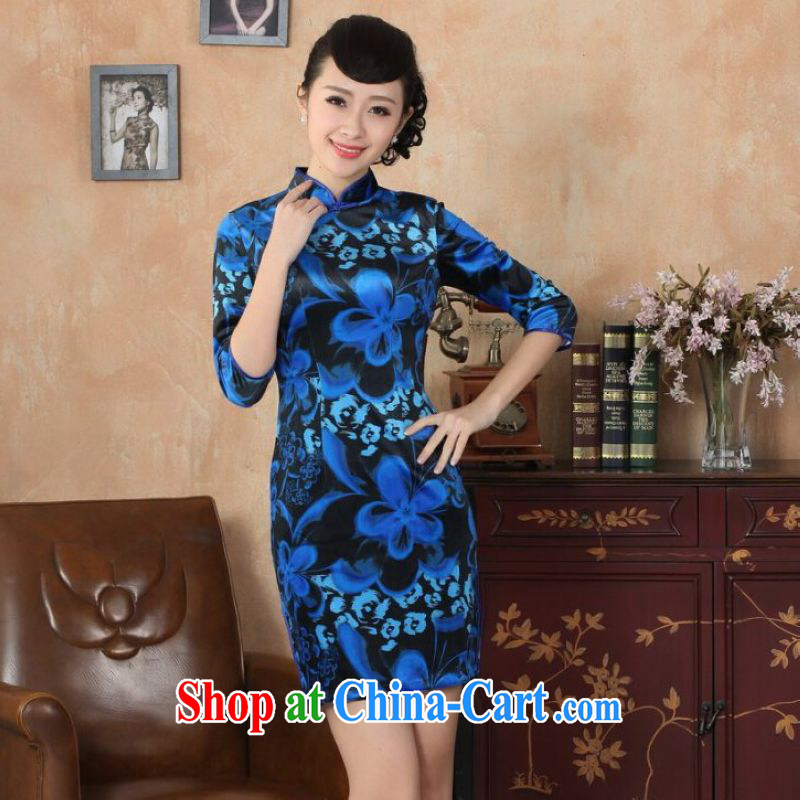 He Jing Ge New-stretch the wool dresses 7 sub-cuff autumn and winter dresses, dress royal blue 2 XL