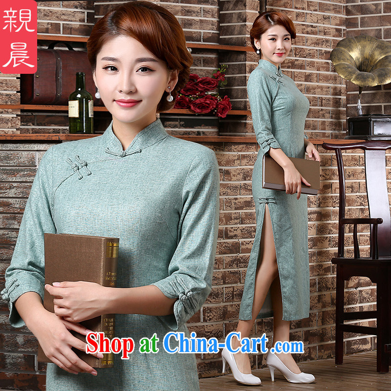 The pro-am 2015 as soon as possible new autumn in long sleeves, culture and arts, 7 cuff-retro cheongsam dress light blue 2 XL - waist 84 CM