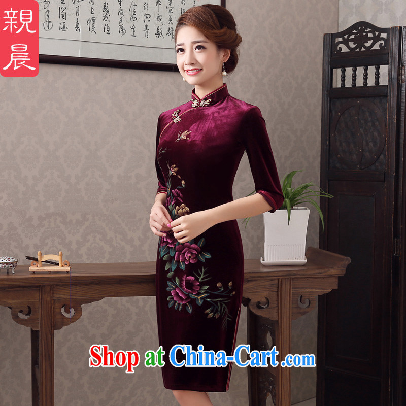 pro-am 2015 new spring and summer are decorated in antique gold velour cheongsam dress wedding improved older mothers with wine red 2 XL - waist 80 CM