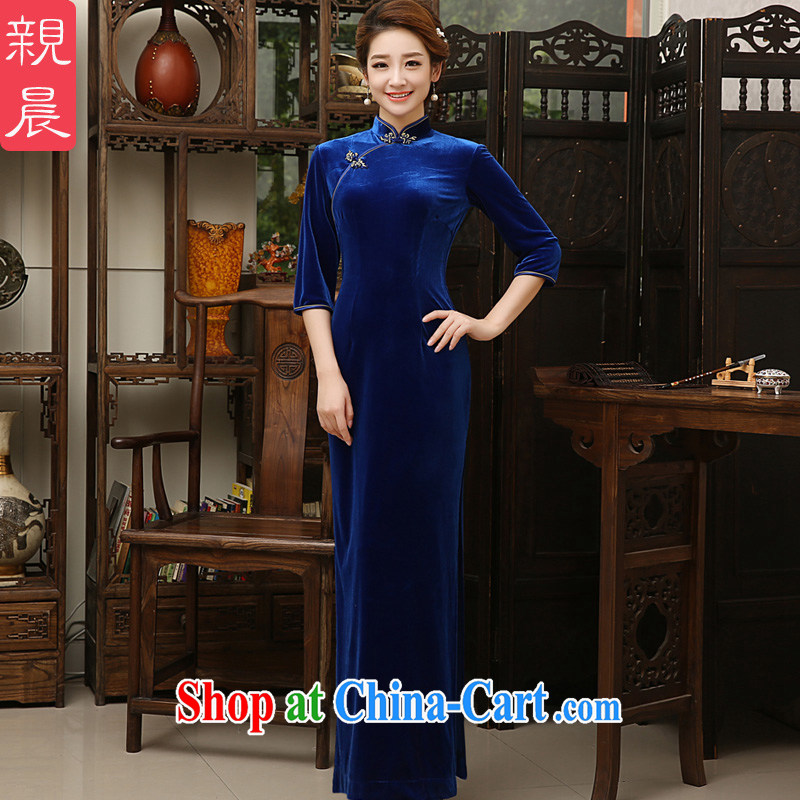 The pro-am 2015 as soon as possible new, spring and autumn day-long wedding scouring pads, older mothers with cheongsam dress dress royal blue 2 XL - waist 80 CM