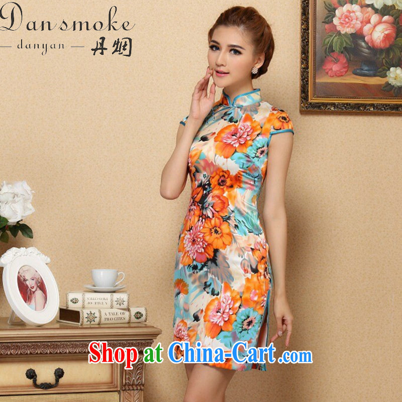 Bin Laden smoke cheongsam dress Chinese Chinese, for silk cheongsam dress classy, stylish and Sauna Silk Cheongsam dress cheongsam as figure 2 XL